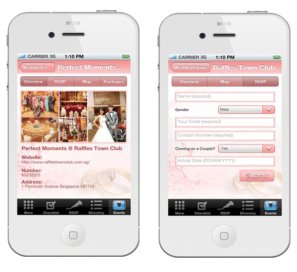 Singapores first wedding planning iphone app latest wedding events junglespirit Choice Image