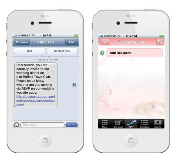 Singapores first wedding planning iphone app rsvp form stopboris Images